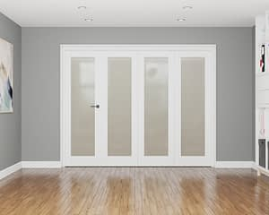 4 Door Affinity White Primed Frosted Internal Bifold