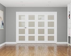 4 Door Affinity White Primed 4 Light Frosted Internal Bifold