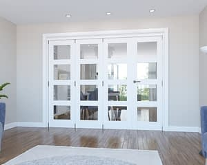 4 Door Vision White Primed 4 Light Internal Bifold - Closed
