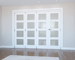 4 Door Vision White Primed 4 Light Frosted Internal Bifold - Closed