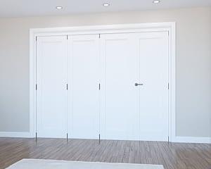 4 Door Vision White Primed 1 Panel Internal Bifold - Closed
