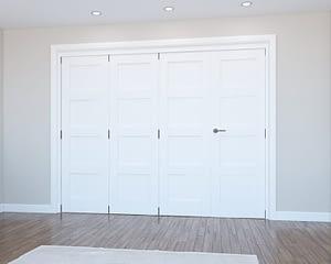 4 Door Vision White Primed 4 Panel Internal Bifold - Closed