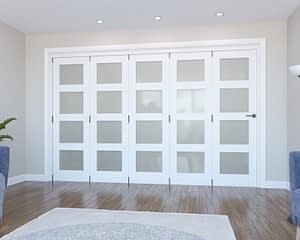 5 Door Vision White Primed 4 Light Frosted Internal Bifold - Closed