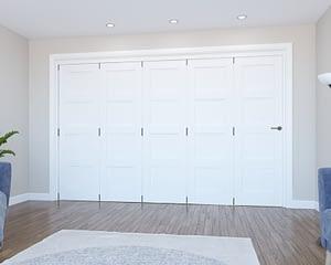 5 Door Vision White Primed 4 Panel Internal Bifold - Closed