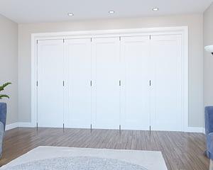 5 Door Vision White Primed 1 Panel Internal Bifold - Closed
