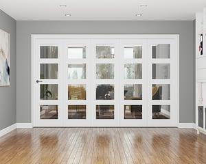5 Door Repute White Primed 4 Light Internal Bifold