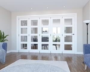 5 Door Vision White Primed 4 Light Internal Bifold - Closed