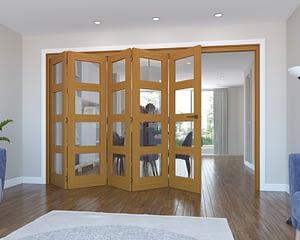 5 Door Vision Fully Finished Oak 4 Light Internal Bifold - Open