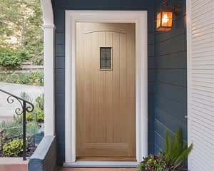 78 x 30 Croft Unfinished Oak External Front Door - Installed
