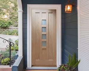 80 x 32 Newton Unfinished Oak External Front Door - Installed