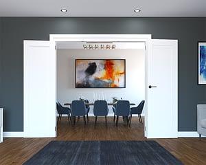3 Door White Primed 1 Panel Folding French Doors - Open