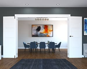4 Door White Primed 4 Panel Folding French Doors - Open