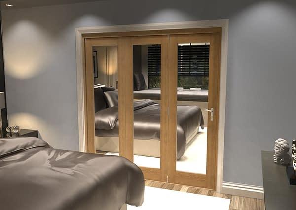 3 Door Repute Mirrored Oak Internal Bifold - Closed