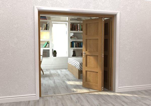 3 Door Repute Mirrored Oak 4 Light Internal Bifold - Open