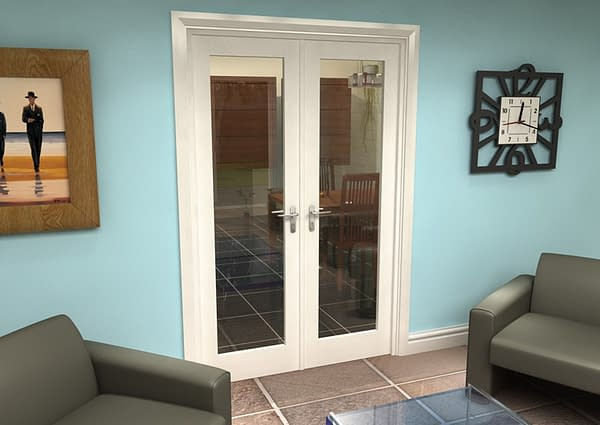 1300mm Vision White Primed 1 Light Internal French Doors - Closed