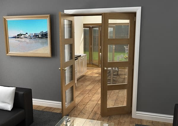 1300mm Vision Fully Finished Oak 4 Light Internal French Doors - Open
