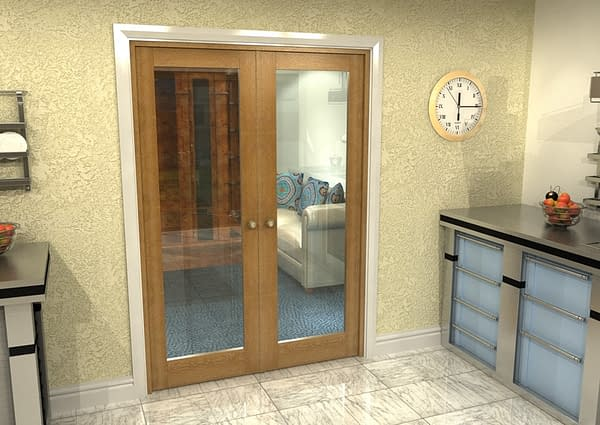 1452mm Vision Fully Finished Oak 1 Light Internal French Doors - Closed