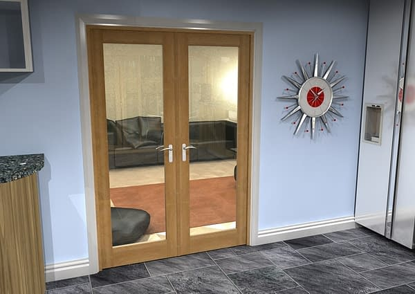 1452mm Vision Unfinished Oak 1 Light Internal French Doors - Closed