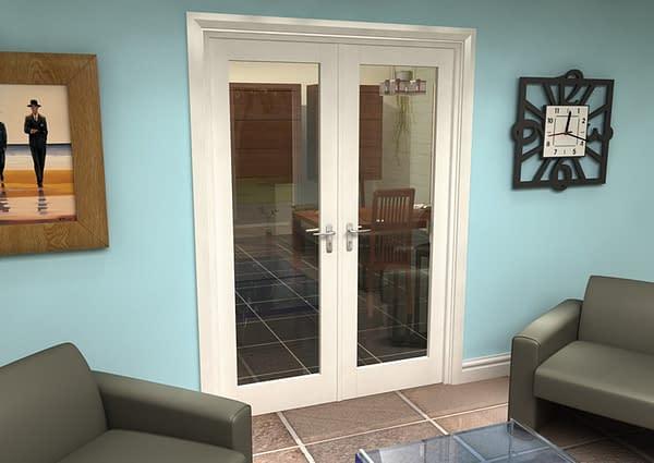 1452mm Vision White Primed 1 Light Internal French Doors - Closed
