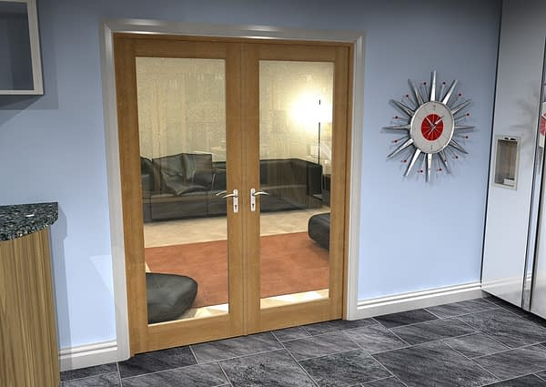 1604mm Vision Unfinished Oak 1 Light Internal French Doors - Closed