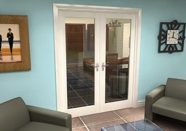 1604mm Vision White Primed 1 Light Internal French Doors - Closed