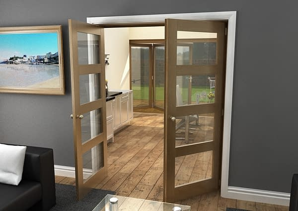 1604mm Vision Fully Finished Oak 4 Light Internal French Doors - Open