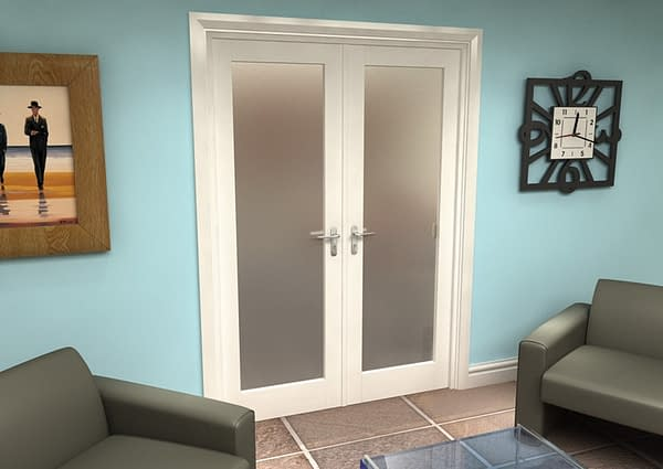 1452mm Vision White Primed 1 Light Frosted Internal French Doors - Closed
