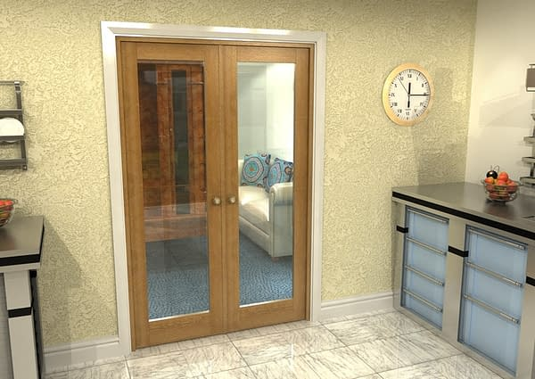 1226mm Vision Fully Finished Oak 1 Light Internal French Doors - Closed