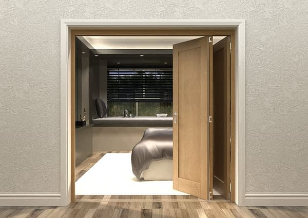 3 Door Repute Mirrored Oak Internal Bifold - Open