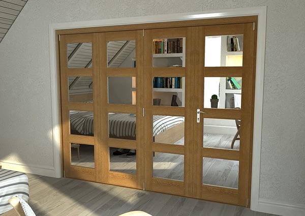 4 Door Repute Mirrored Oak 4 Light Internal Bifold - Closed