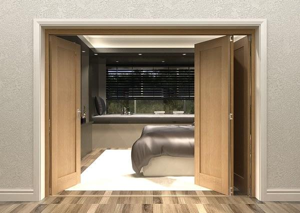 4 Door Repute Mirrored Oak Internal Bifold - Open