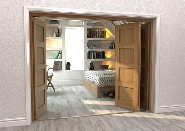 4 Door Repute Mirrored Oak 4 Light Internal Bifold - Open