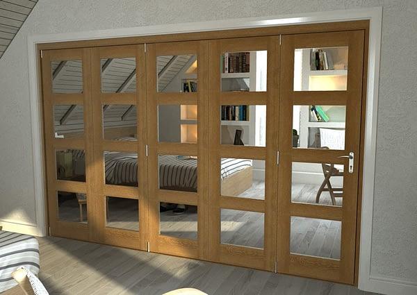 5 Door Repute Mirrored Oak 4 Light Internal Bifold - Closed