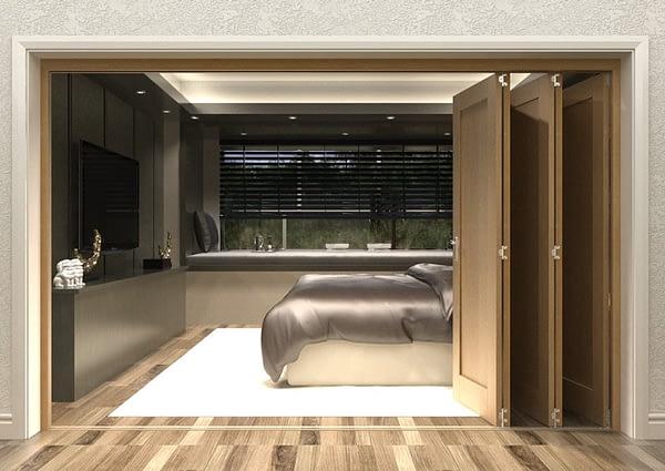 5 Door Repute Mirrored Oak Internal Bifold - Open
