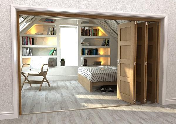 5 Door Repute Mirrored Oak 4 Light Internal Bifold - Open