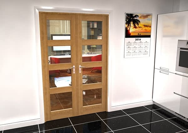 1300mm Vision Unfinished Oak 4 Light Internal French Doors - Closed
