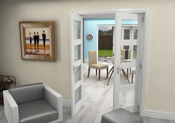 1300mm Vision White Primed 4 Light Internal French Doors - Open