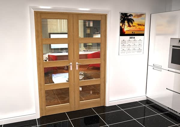 1452mm Vision Unfinished Oak 4 Light Internal French Doors - Closed