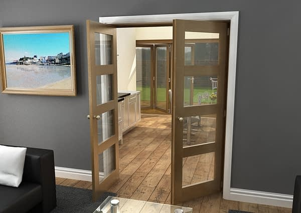 1452mm Vision Fully Finished Oak 4 Light Internal French Doors - Open