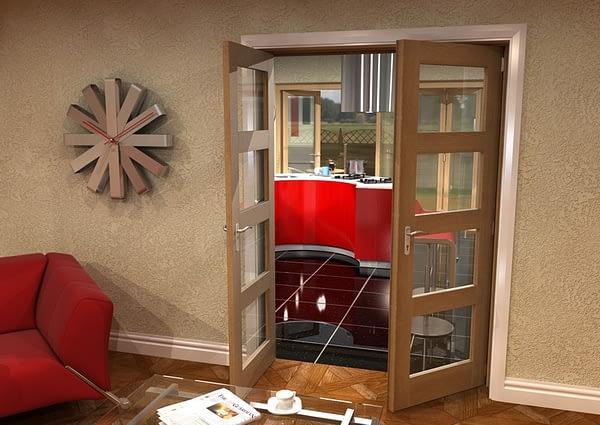 1452mm Vision Unfinished Oak 4 Light Internal French Doors - Open