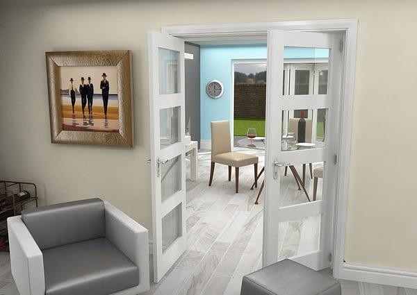 1452mm Vision White Primed 4 Light Internal French Doors - Open