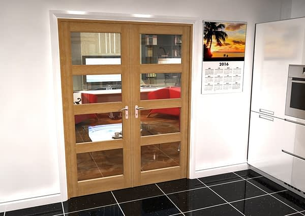 1604mm Vision Unfinished Oak 4 Light Internal French Doors - Closed