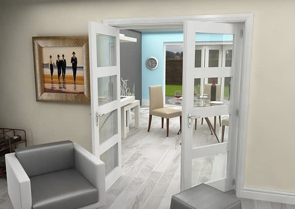 1604mm Vision White Primed 4 Light Internal French Doors - Open