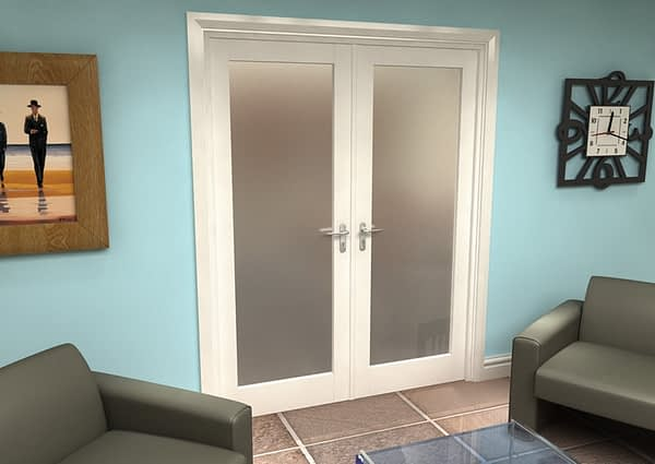 1604mm Vision White Primed 1 Light Frosted Internal French Doors - Closed