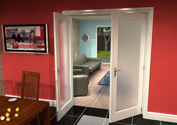 1604mm Vision White Primed 1 Light Frosted Internal French Doors - Open