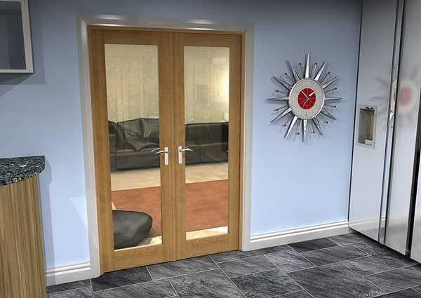 1226mm Vision Unfinished Oak 1 Light Internal French Doors - Closed