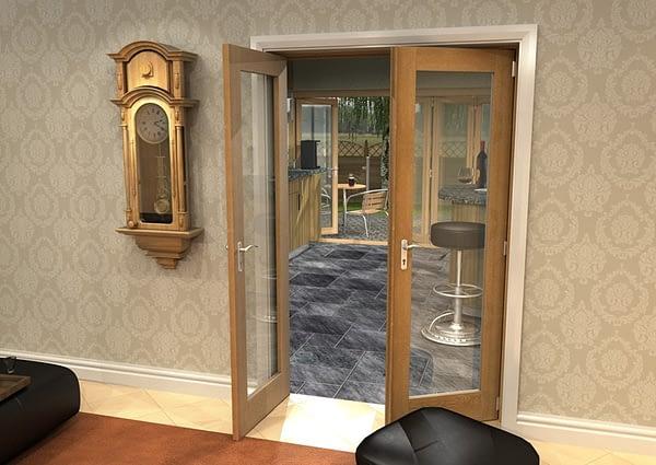 1226mm Vision Unfinished Oak 1 Light Internal French Doors - Open