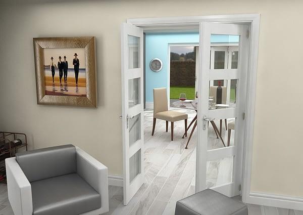 1226mm Vision White Primed 4 Light Internal French Doors - Open