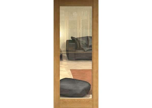 Unfinished Oak 1 Light Single Internal Door With Clear Glass