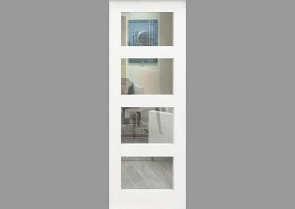 White Primed 4 Light Single Internal Door With Clear Glass